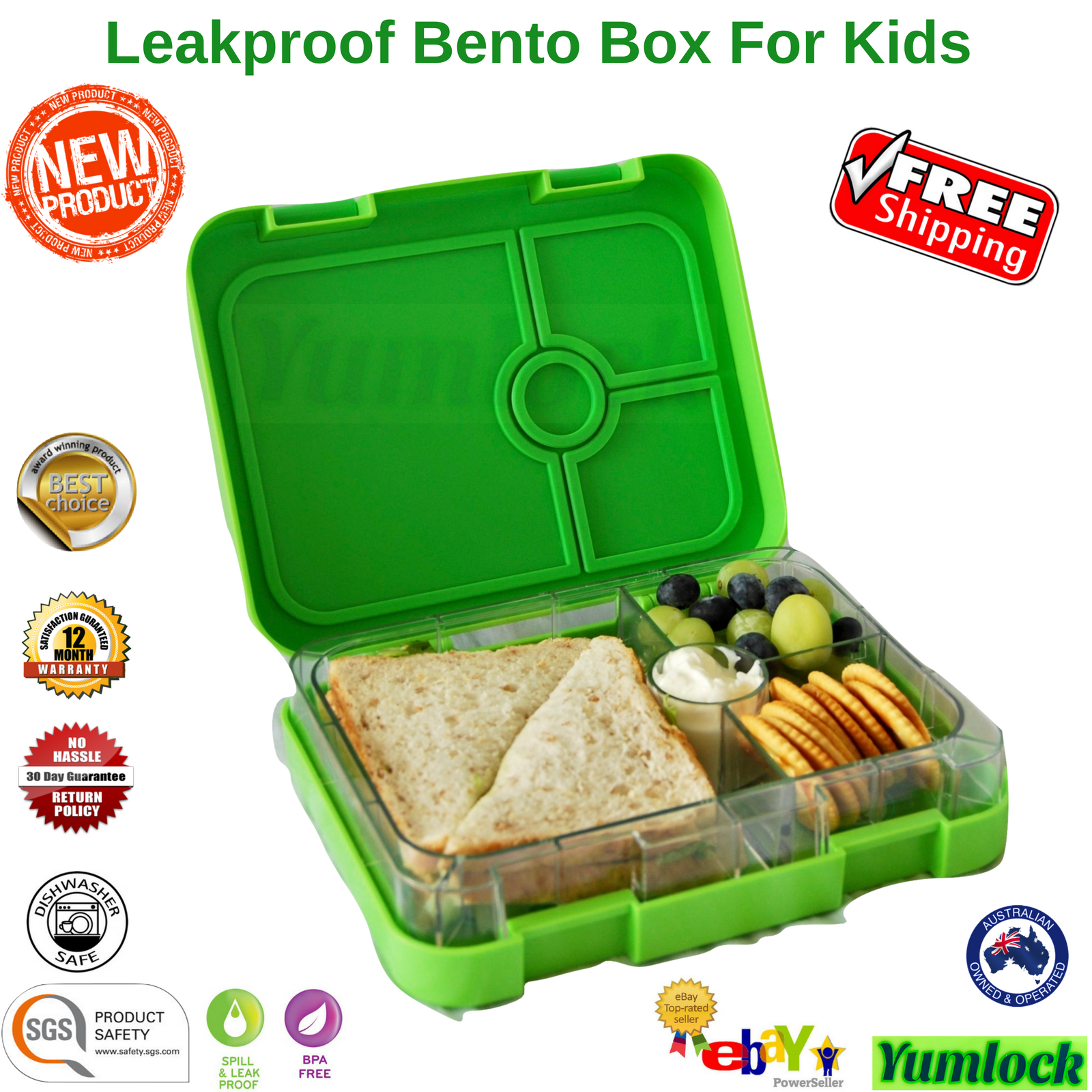 bento lunch box food container school picnic 4 leakproof compartments by yumlock ebay. Black Bedroom Furniture Sets. Home Design Ideas