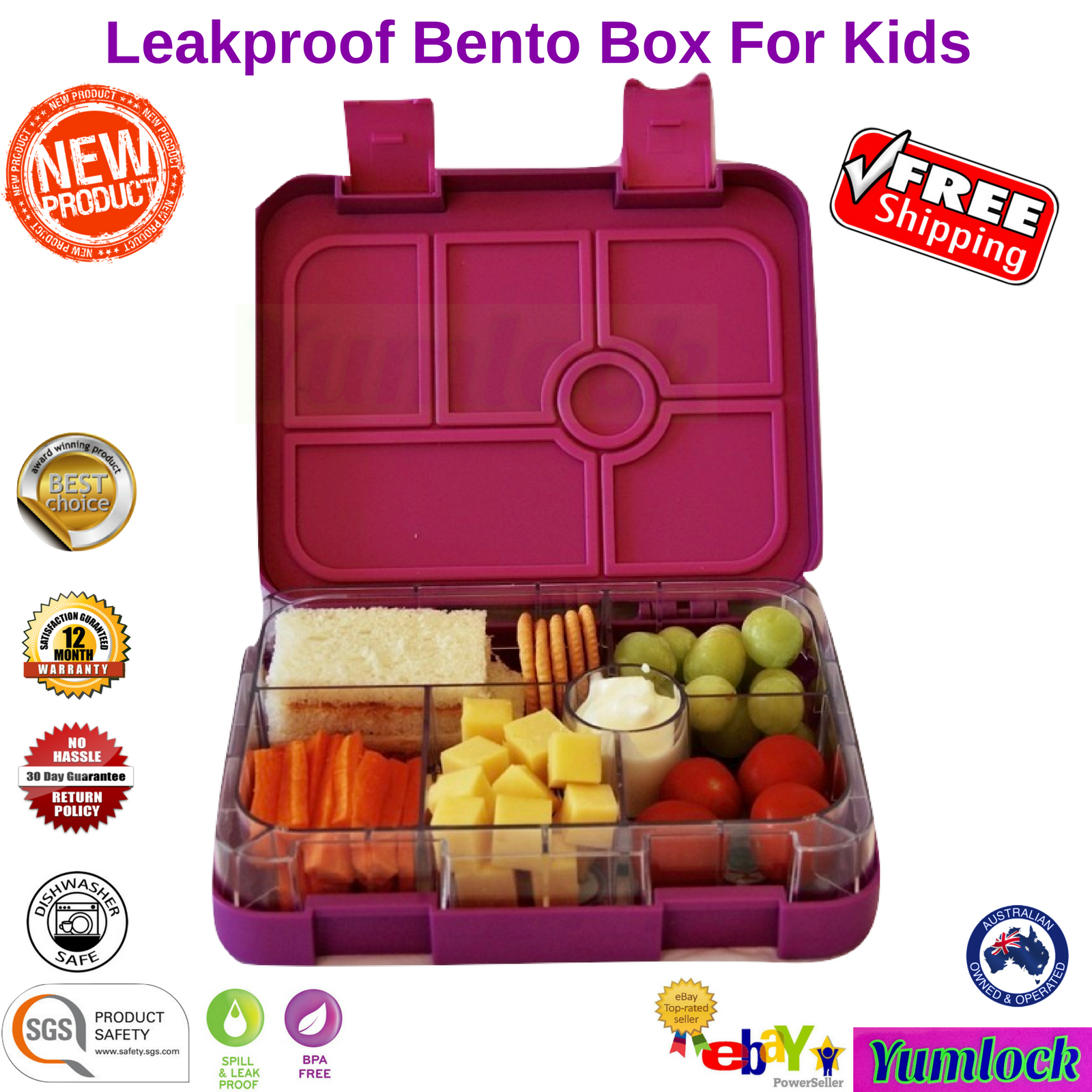 bento lunch box food container school picnic 6 leakproof compartments by yumlock. Black Bedroom Furniture Sets. Home Design Ideas